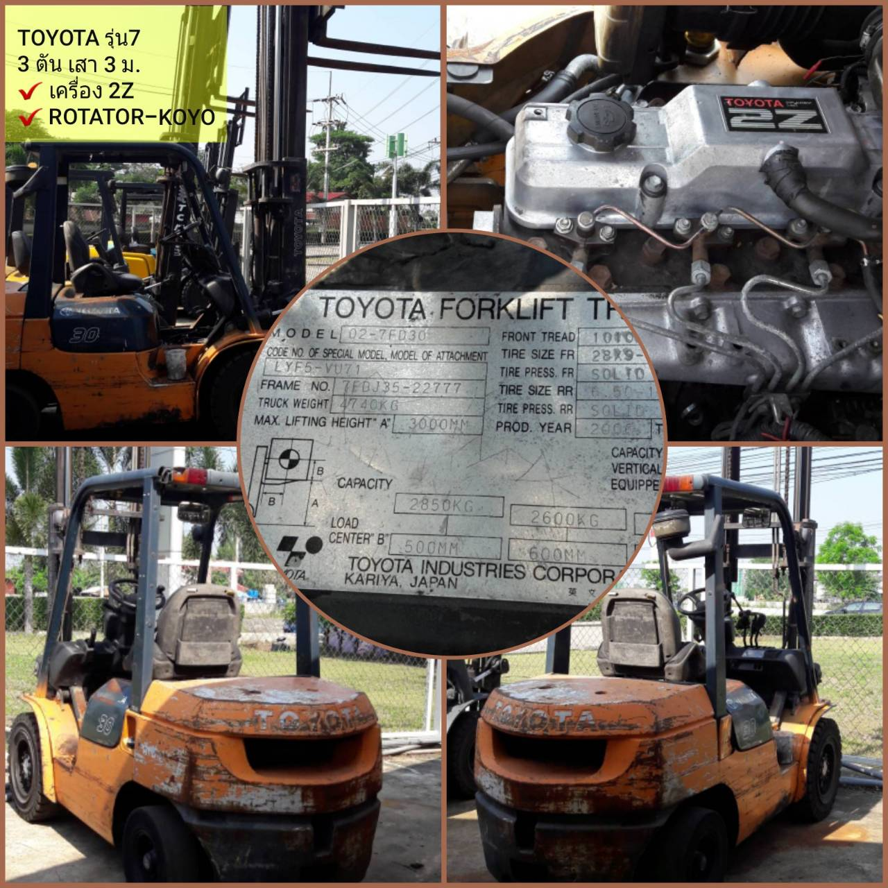 TOYOTA FORKLIFT COUNTER 02-7FD30-22777, BATTERY, 3 TON